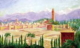 Medina of Marrakech with Atlas Mountains in background